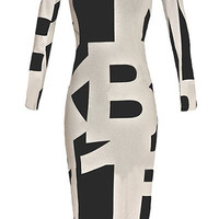 Graphic Print Long Sleeve Bodycon Midi Dress