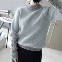 Fall Winter Sweet Thick Wool Solid color Long Sleeve Sweater