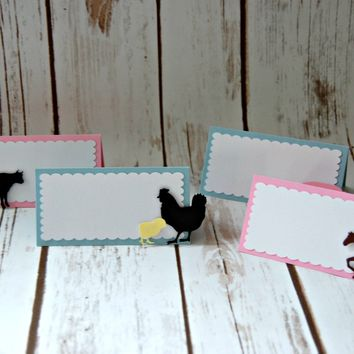 Vintage Chic Farmer's Party Name Cards, Farm Birthday Buffet Tags, Girl Farm (set of 6)