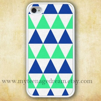 iPhone 4 Case, iphone 4s case, Triangles pattern iphone case, Geometric graphic white iphone hard case, blue and green