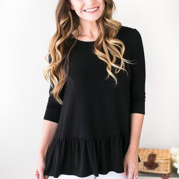 Rippling Ruffles Black Top