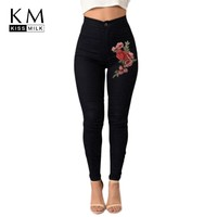 kissmilk 2018 Multi-color Women Jeans Floral Embroidery Full Length Solid Female Clothing Skinny Elasticity Casual Lady Pants