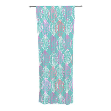 "Julia Grifol ""My White Leaves"" Pink Aqua Decorative Sheer Curtain"