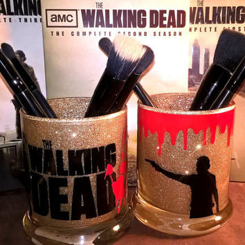 2PC set TWD The Walking Dead Makeup Brush Holders