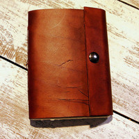Plain Leather Journal Sketchbook with Snap Closure by LadyArtisan