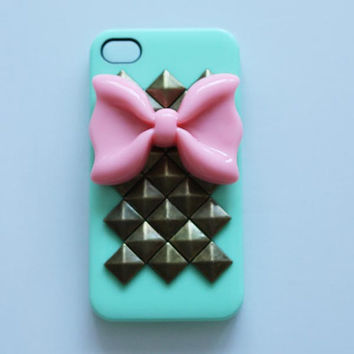 phone case iphone case Iphone 5 or iphone 4/4s rivet studded bow phone case