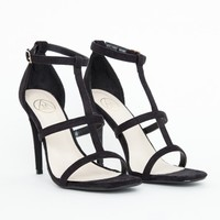 Missguided - Gemma Caged Heel Sandals In Black