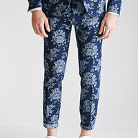 Rose-Patterned Denim Pants