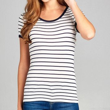 Striped Tee Jersey Top - More Colors Available