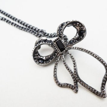 Gun Metal and Black Bow Pendant Necklace Handmade by Lindsey - Black and Gray Czech Glass Beads - Bow Charm Pendant