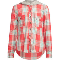 Mia Chica Girls Hooded Boyfriend Flannel Shirt Coral Combo  In Sizes