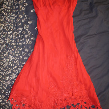 Bcbg Max Azria Runway Red Silk Dress With Flowered Edges New