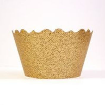 Glitter Kings Crown Gold Cupcake Wrappers - Includes 12 Cupcake Holders