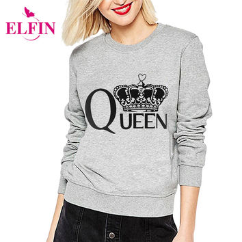Print Queen Women Hoodies Sweatshirt Full Sleeve Harajuku Autumn Winter Casual Basic Crop Top Pullover Tops Tee Retro LJ5240S
