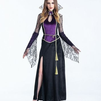 MOONIGHT Halloween Costume Vampire Witch Dress Black Temperament Goddess Queen Loaded Gothic Witch Costume