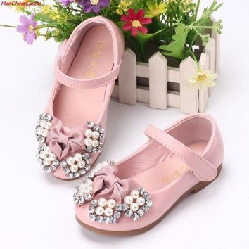 HaoChengJiaDe Autumn Baby Girls Shoes For Children Princess Butterfly Flower Pearl Glitter Casual Leather Kids Shoes White Pink