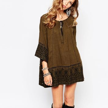 Free People Counting Stars Tunic with Aztec Print Hem Detail