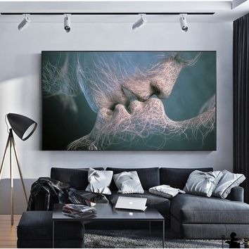SOURBAN Couple Kiss Abstract Wall Art On Canvas Prints Modern Sweet Kiss Home Decorative Pictures For Living Room Cuadros Decor