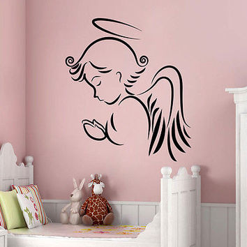 Wall Decals Angel Wings Decal Baby Nursery Room Vinyl Sticker Decor Art MR564