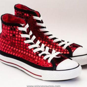 CREYONB Red   Black Sequin Hi Top Converse Sneakers Shoes fa16a7bc3