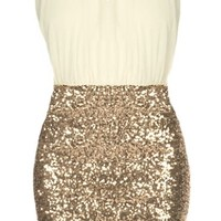 Vanilla Icing Dress | Surplice Ivory Gold Sequin Party Dresses | Rickety Rack