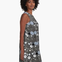 'Topiary Silver' A-Line Dress by Carmen Ray Anderson
