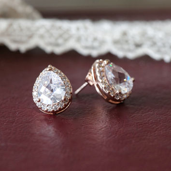 Rose Gold Bridal Wedding Studs Earrings, Lux Cubic Zirconia Pear Post Studs, Bridesmaids Gifts, Gold Bridal LUX CZ Drop 925 sterling Silver