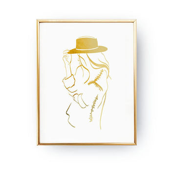 Cowgirl Silhouette Print, Fashion Poster, Real Gold Foil Print, Modern Wall Art, Illustration Poster, Bedroom Decor, Wardrobe Art,Home Decor