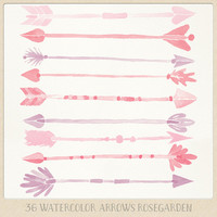 "Watercolor clipart arrows tribal (36 pc) pink purple red ""rosegarden"" graphics. hand painted for logo design blogs cards printables wall art"