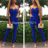 Rompers Womens Jumpsuit Sexy Blue Pockets Slim Pants Bodysuit Sleeveless  Jumpsuits
