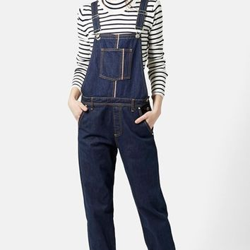 Women's Topshop Moto Selvedge Denim Overalls (Mid Denim)