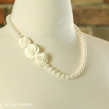 Pearl Wedding Necklace,  Ivory Rose Bridal Jewelry - Rose Cluster - Hand Knotted Freshwater Pearls - Ivory Flowers