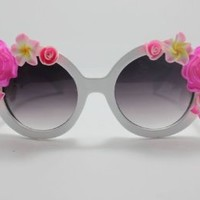 WIIPU rose half Flower Adorned Round Oversized Sunglasses Baroque Swirl Arms(SG-22)