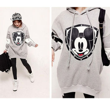 Mickey Minnie Mouse New Fashion Long Length 3d Lovers Print Loose Cartoon Casual  Women Sweatshirt & Hoodies O Neck Autumn Top