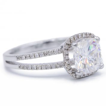 Cushion Moissanite 14KW Split Shank Diamond Accent Cushion Shaped Halo Ring