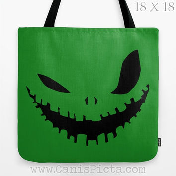Oogie Boogie Man Monster Nightmare Before Christmas Graphic Print Tote Bag Movie Trick or Treat Halloween Green Black Evil Grin Autumn Fall