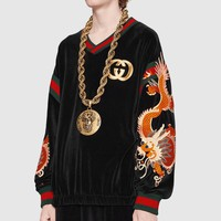 GUCCI Newest Fashion Personality Comfortable Letter Dragon Embroidery Long Sleeve Sweater Top Sweatshirt I-A00FS-GJ