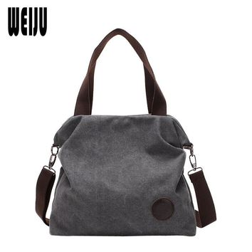 WEIJU Women Bag Vintage Canvas Handbags Casual Women Messenger Bags Bolsos Mujer De Marca Famosa 2017 New Handbag Shoulder Bags