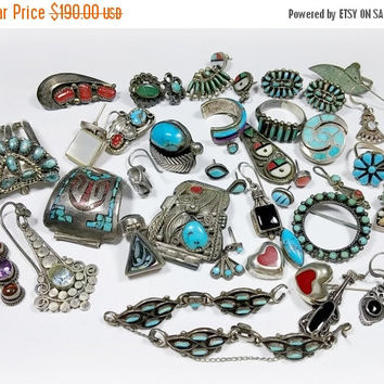 Lot of Sterling Silver Lot Turquoise Red Coral Native American Jewelry Parts Pieces - Repair, Make Jewelry, Crafts, Melt-Projects