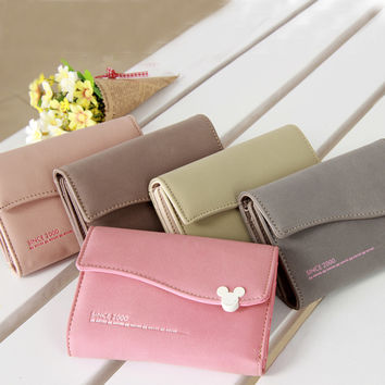 New Arrival Women Wallets Mouse Hasp Wave Edge 6 Colors 3 Style Solid Lady Purse Party/Shopping/Casual/Festival/Gift Girls Bags