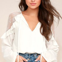 Glorious Day White Lace Long Sleeve Top
