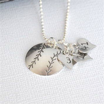 Hand-Stamped Baseball or Softball Necklace with Heart Charm stamped with Three Numbers