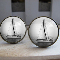 Mens Cuff Links , Antique Sailing Boat Design Cuff Link , CUSTOM Cufflinks , with a Gift Box