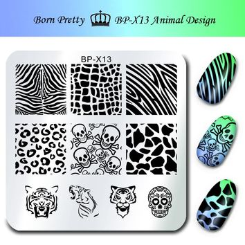 Stamp Print Stencils for Nails 6*6cm Square Nail Art Stamping Plates Template Animal Design Skull Image Plate BP-X13