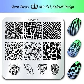 BORN PRETTY Stamp Print Stencils for Nails 6*6cm Square Nail Art Stamping Plates Template Animal Design Skull Image Plate BP-X13