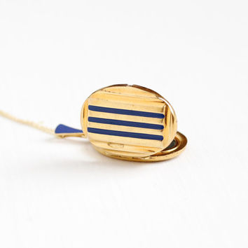 Antique Art Deco Blue Enamel Locket Necklace - Vintage 1930s Gold Filled Double Sided Picture Photograph Pendant Linear Jewelry