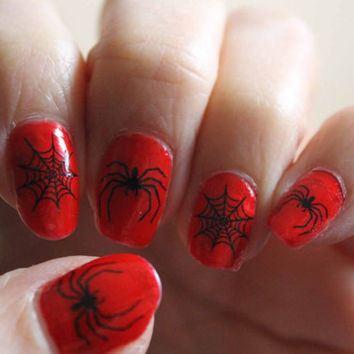 52 DECALS Spiders and Webs - Nail WRAPS Nail Art Water Slide Transfers Wiccan Gothic Steampunk