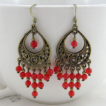 Red ruby earrings red chandelier earrings bohemian dangles gypsy earrings hippie jewelry earrings bronze chandelier earrings gift for her
