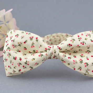 Floral Bow Tie Ivory Bow Tie Off White Bow Tie for Men Pale Yellow Bow Tie Men Bow Tie Gift for Him Womens Bow Tie for Women Cotton Bow Tie