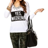 Ivory/Black Yes, Weekend Dolman Top